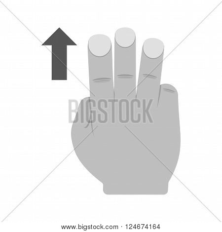 Down, fingers, pointer icon vector image.Can also be used for user touch gestures. Suitable for mobile apps, web apps and print media.