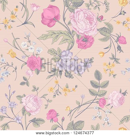 Seamless vector classic pastel romantic pattern with Victorian bouquet of colorful flowers on a cream background. Pink roses yellow tulips purple delphinium.