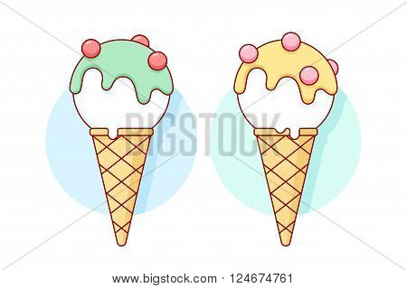 Icon white ice cream scoop in cones different pastel color yellow and blue in line graphic. Vector illustration