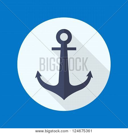 Anchor flat icon with long shadow on blue background