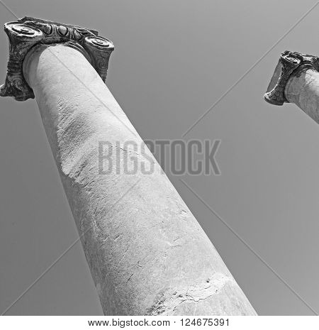 Column In Old  Temple And Theatre In Ephesus   Antalya Turkey Asia Sky  The Ruins