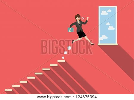 Business woman jumping to success. Business Concept