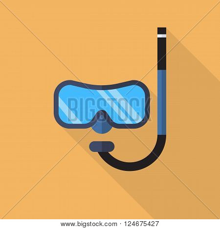 Diving mask with snorkel flat icon with long shadow