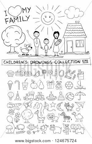 Child hand drawing illustration of happy family with kids near home, dog, sun. Line graphic sketch image of children pencil painting in vector doodles set