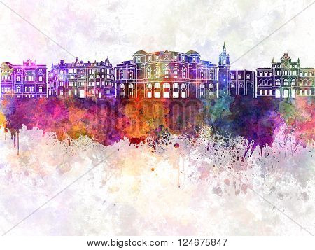 Bilbao skyline in watercolor backgraund abstract paint