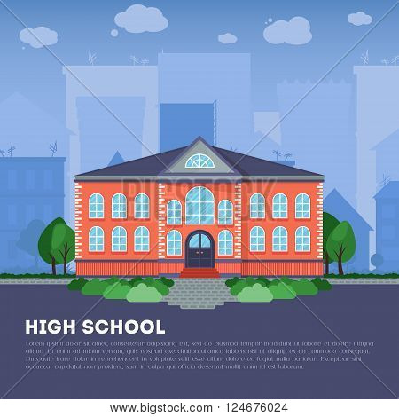 Modern public or private academy or university building flat school building in big city. Education concept. Study place. Background for back to school poster card banner. Vector illustration.