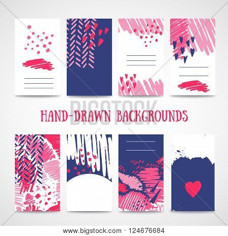 Hand drawn 8 cards with trendy textures. Business card wedding marriage bridal birthday Valentine's day. With isolated objects.