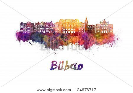 Bilbao skyline in watercolor splatters with clipping path
