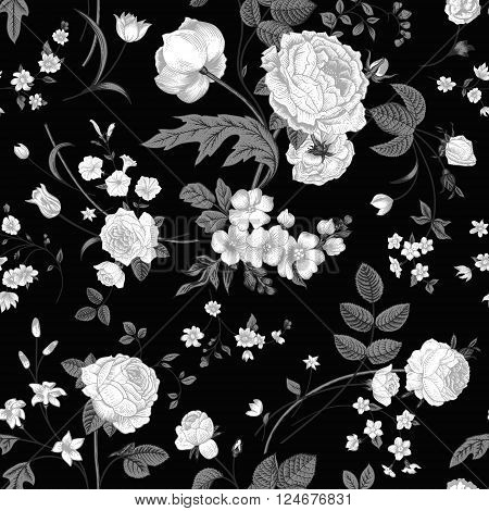 Seamless vector vintage pattern with Victorian bouquet of white flowers on a black background. White roses tulips delphinium with gray leaves.