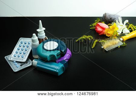 Asthma of allergy relief concept seasonal allergens - pollen and flowers pet hair and home dust copy space