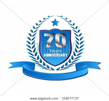 Vintage 70 years anniversary message emblem vector