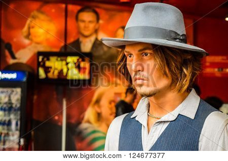 Hollywood Blvd,Los Angeles, California 01.16.2016: Johnny Depp in Madame Tussauds Hollywood wax museum. Marie Tussaud was born as Marie Grosholtz in 1761