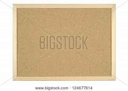 cork board for announcements on white background