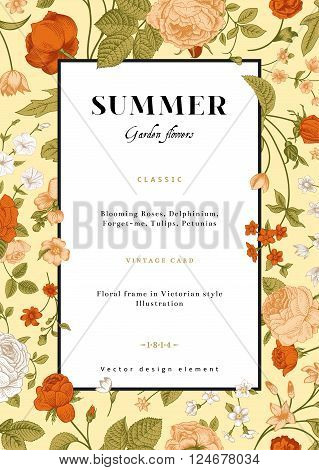 Vector vertical vintage floral wedding invitation card with frame of colorful garden flowers on mint background.