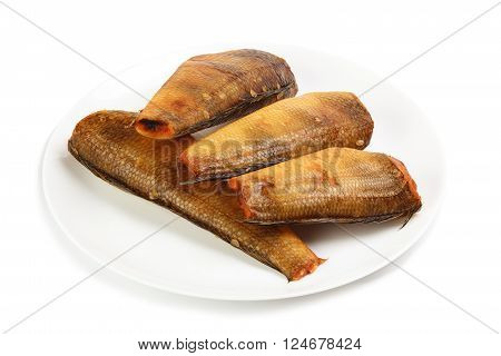Smoked notothenia on plate isolated on a white background