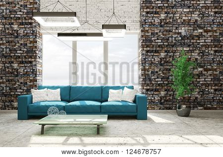 Interior Of Living Room With Sofa 3D Rendering