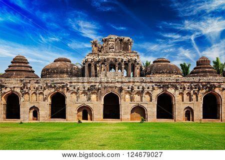 Ancient ruins of Elephant Stables, Royal Centre. Hampi, Karnataka, India. Stitched panorama