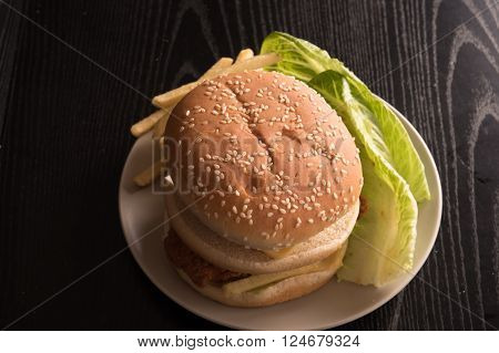 fresh tasty burger with french fries and Savoy Cabbage Leaf in a white plate