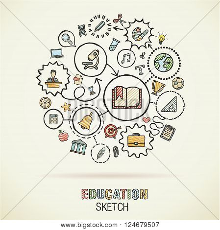 Education hand drawing connected icons. Vector doodle interactive pictogram set. sketch concept illustration on paper. elearning, knowledge, learn, analytics, network, science, social media.