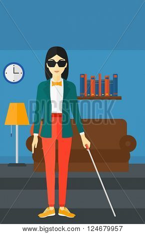 Blind woman with stick.