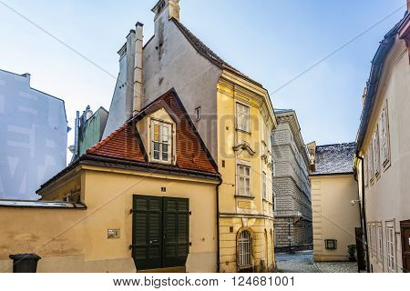 Typical Old Houses In Vienna First District In The Famous Area Moelker Steig