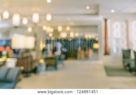 Blurred image background of hotel lobby interior