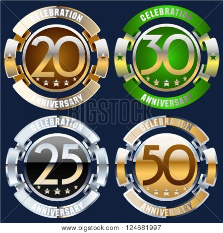 Luxury glossy vector greeting 20, 30, 25, 50 anniversary card with ribbons. Gift for birthday, wedding and other celebration