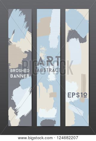 Abstract grunge banner templates, brush spots in blue and grey, vertical web design element