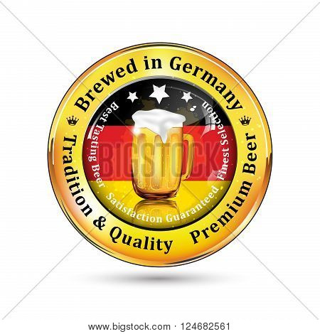 Brewed in Germany, Tradition and Quality. Premium Beer icon / sticker advertising for pubs, clubs, restaurants and breweries. Contains beer mug and the flag of Germany
