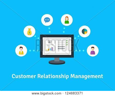 Customer Relationship Management. Vector illustration. Flat icons of accounting system, clienrs, support, deal. Icons of the organization of data on work with clients. CRM and accounting system.