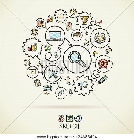SEO hand drawing integrated sketch icons. Vector doodle marketing pictogram set. Connected infographic illustration on paper
