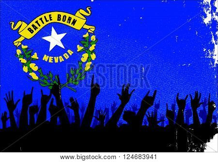 Audience happy reaction with Nevada State flag background
