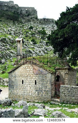 A small church near the Fortress of Kotor, Montenegro