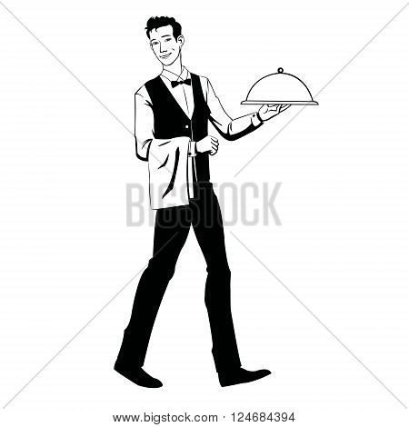Vector illustration of waiter holding serving tray