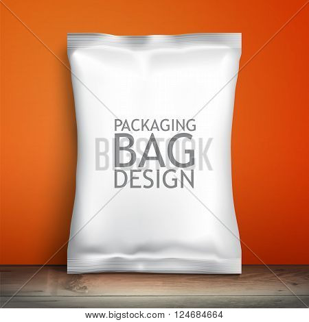 Blank white packaging. Sample package. Blank template for design. Net packaging is on the shelf. Mockup Foil Food Snack pack, packaging or wrapper. Plastic Pack Template for design and branding.