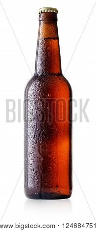 Brown cold beer bottle with drops isolated on white background