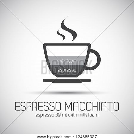 Cup of espresso macchiato simple vector icons