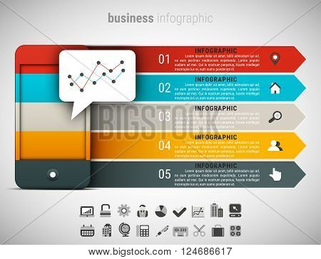 Vector illustration of business infographic made of cellphone.