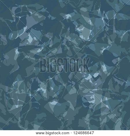 Vector illustration of blue camouflage. Camouflage modern design