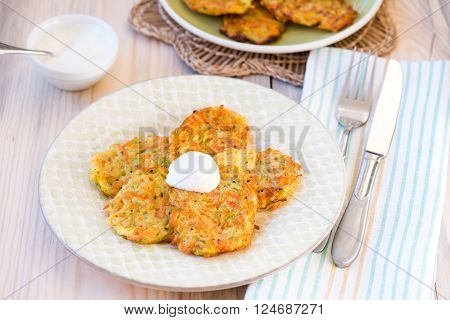 Homemade Fried Fritters Of Shredded Courgette