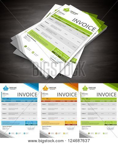 This is creative and colorful invoice. Vector illustration.