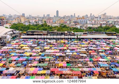 Bangkok, Thailand - March 25, 2016: Night market train a second-hand market, back of Esplanade Ratchadapisek Department store