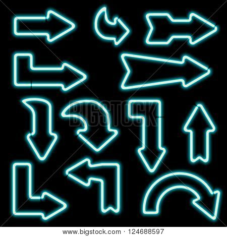 retro neon signs. Set of electronic arrows. Icons curved arrows. Design elements for your banners, flyers, advertisements, Web. Vintage symbol of the arrows. illustration