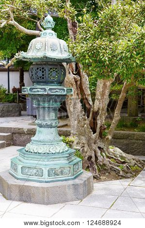Part of Kotokuin Temple, Kanagawa, Kamakura in Japan. Holy lantern as symbol of buddhism
