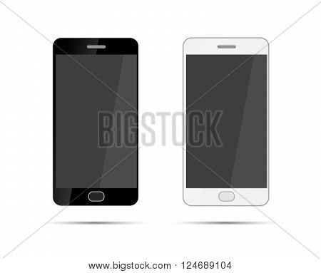 Mobile smartphones in black and white colors, isolated on white