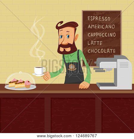 Smiling waiter barista making coffee vector illustration