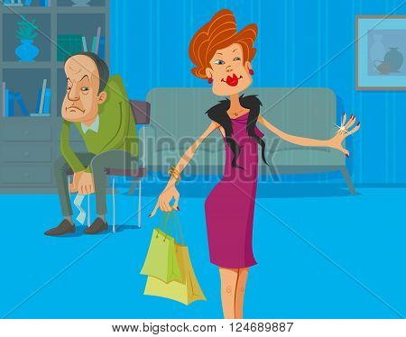 Upset man with receipt in the hands and his shopaholic wife with shopping bags