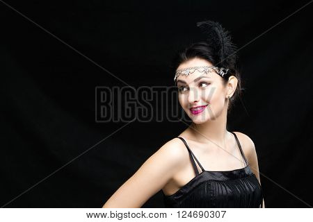 Retro Woman Portrait. Vintage Style Girl Wearing Old fashioned Hat and Gloves, Hairstyle and Make-up. Romantic lady