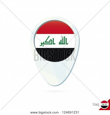 Iraq Flag Location Map Pin Icon On White Background.