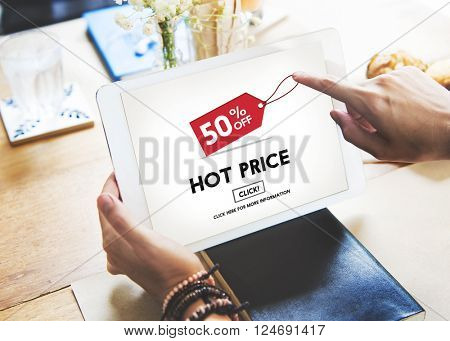 Hot Price Big Sale Deduction Advertisement Retail Concept